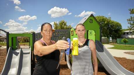 Amanda McFarlane and Charna Macdonald have found knives and syringes at Gerald Ronayne Park.