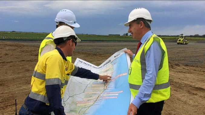 Page MP Kevin Hogan at the Pacific Highway construction site at Woodburn.