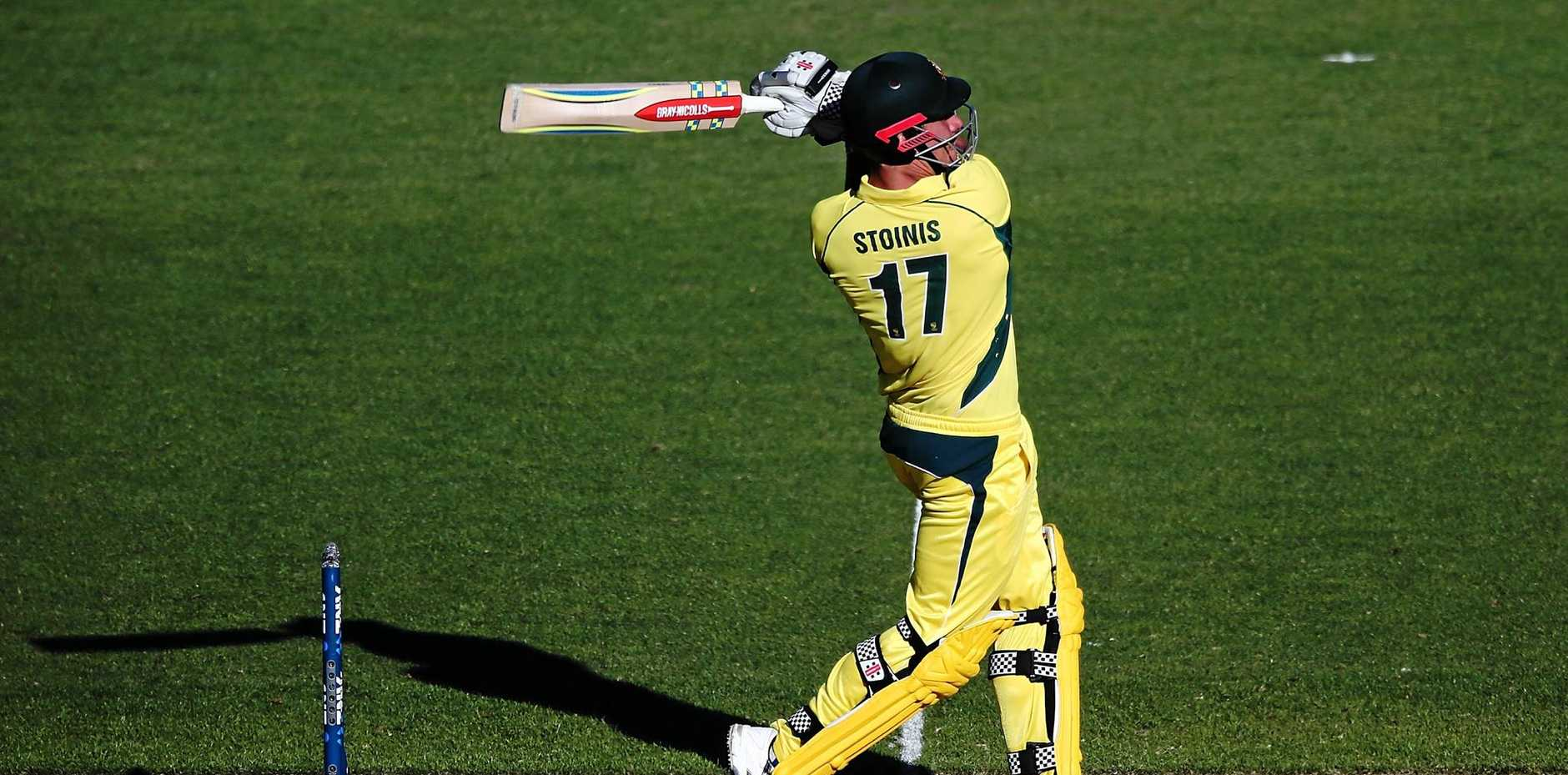 Marcus Stoinis  bats during the first One Day International game between New Zealand and Australia at Eden Park