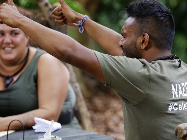 Nazeem Hussain battles through the Sushi Pain challenge.