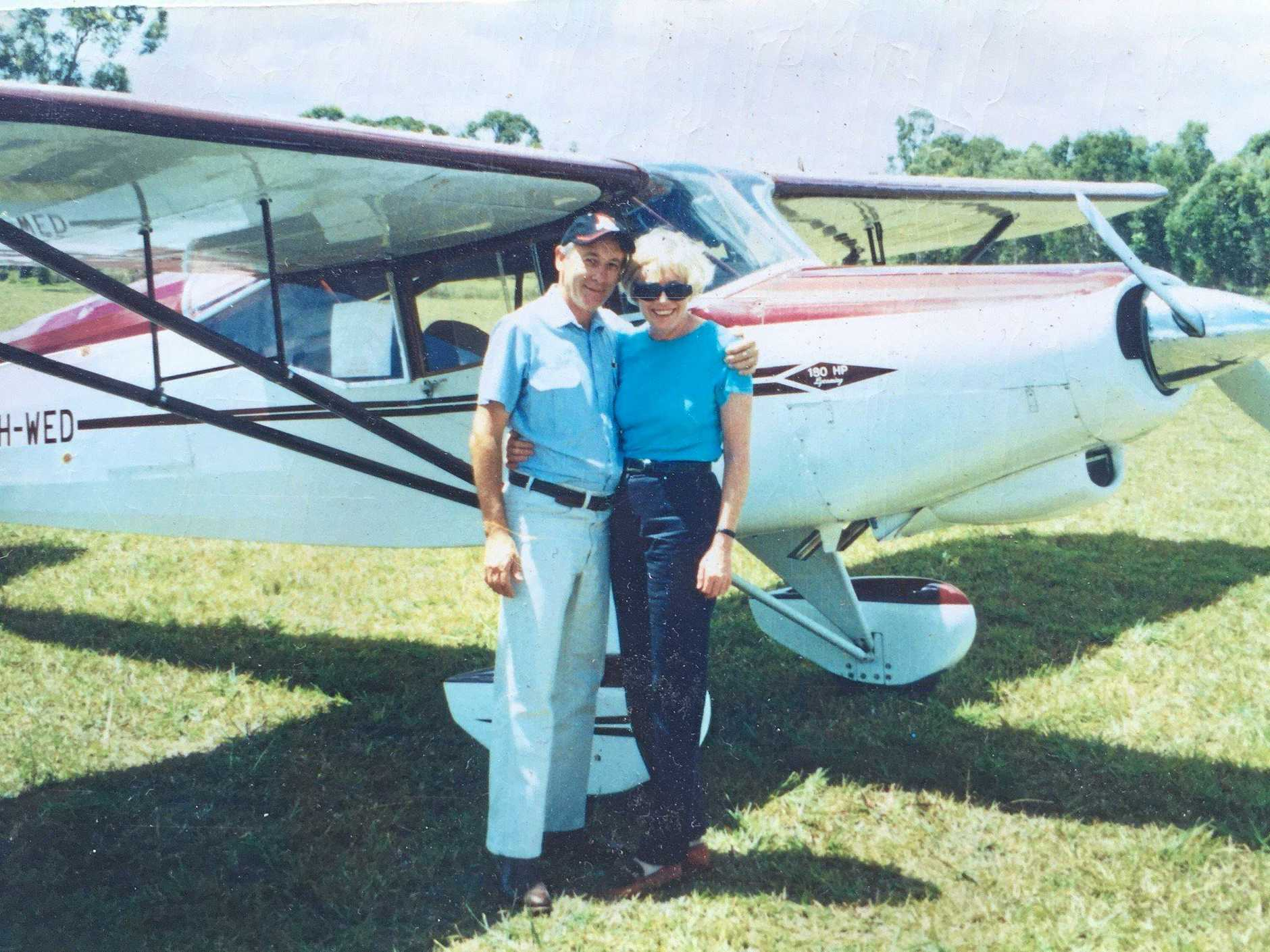A LONG LOVE: Gary and Anne about to go for a joy flight from Archerfiield Airfield in a DeHavillan Auster aircraft.