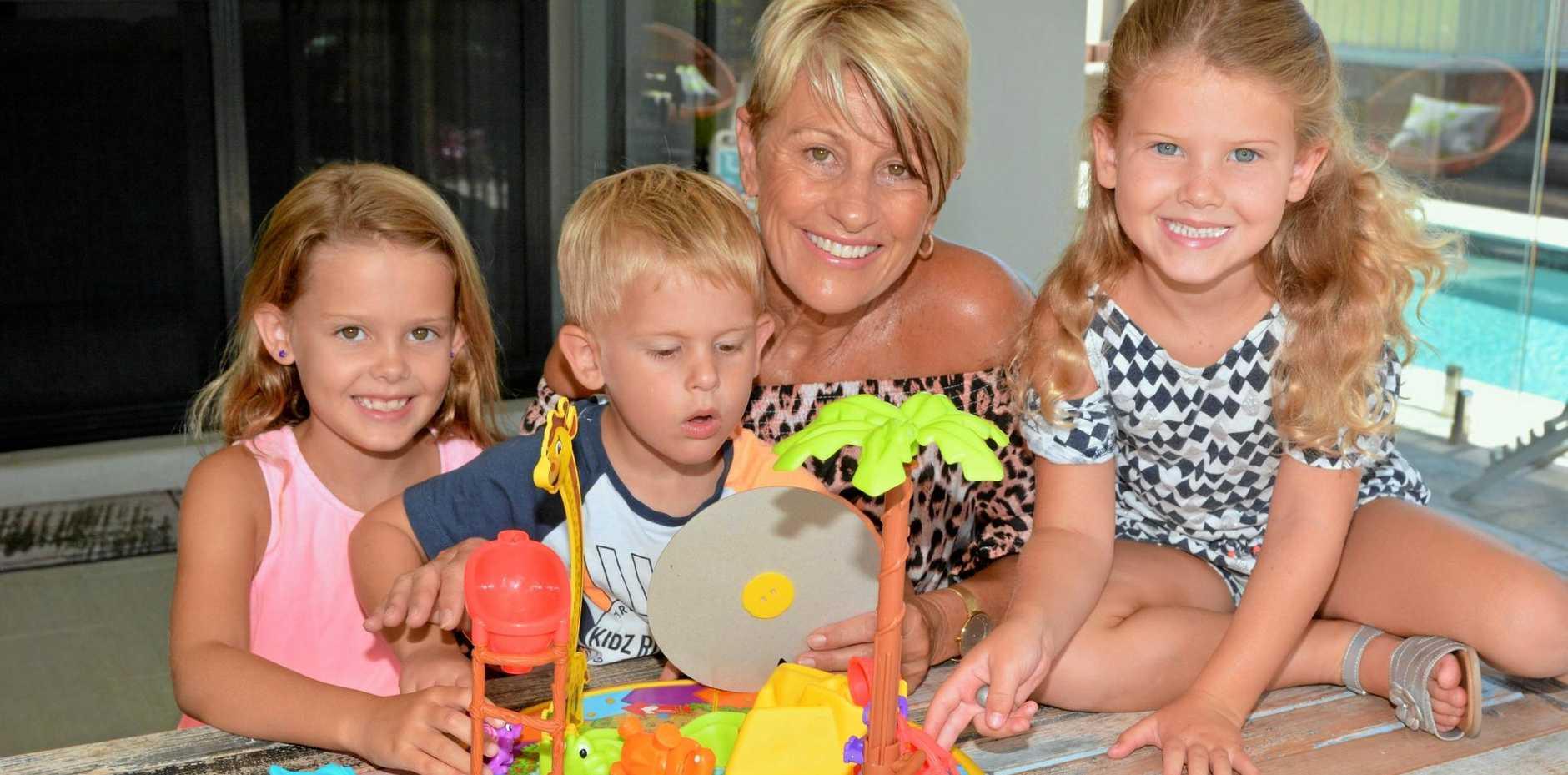FAMILY TIES: Pottsville grandmother Jeanette Buchanan enjoys looking after her grandchildren (from left) Shiloh, Jax and Ivy Hart.