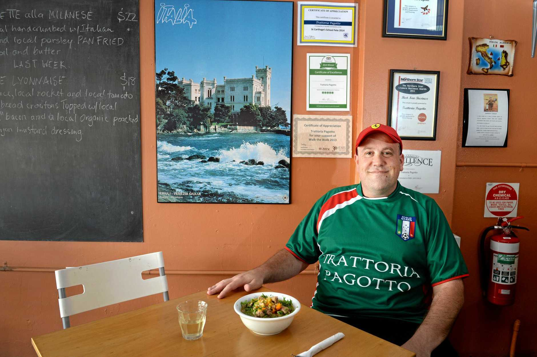 Simon Pagotto, of Trattoria Pagotto in Lismore. The Italian restaurant was one of the most highly rated takeaway places in the region.