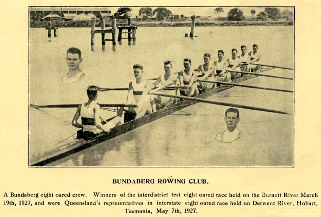 CHAMPIONS: The Bundaberg eight oared crew- winners of the interdistrict test eight oared race on the Burnett River in 1927