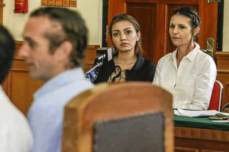 Australian Sara Connor (right) listens to British man David Taylor (left) while testifying during her trial at Denpasar Court in Denpasar, Bali, Indonesia on Tuesday, Jan. 24, 2017. Her British boyfriend David Taylor will testify at Sara Connor trial regarding the murdering of a local police officer Wayan Sudarsa, whose bloodied body was discovered on Kuta Beach on August 17. (AAP Image/Johannes Christo)