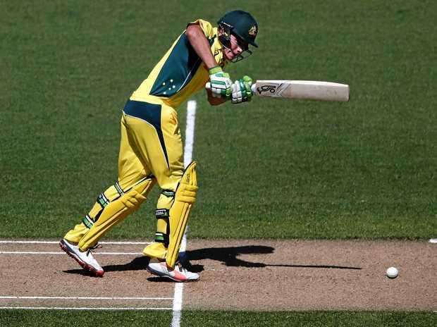 Sam Heazlett of Australia bats during the ODI against New Zealand at Eden Park.