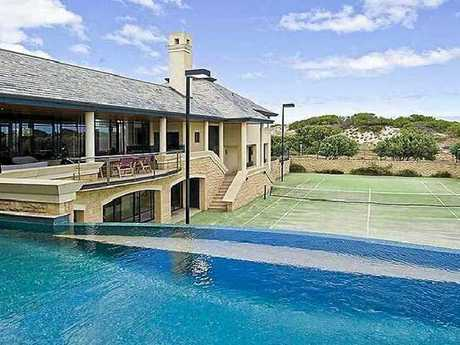 The former Tobias Suckfuell has stayed with wife Samantha Moran in her parents beachside mansion (above) in Perth.