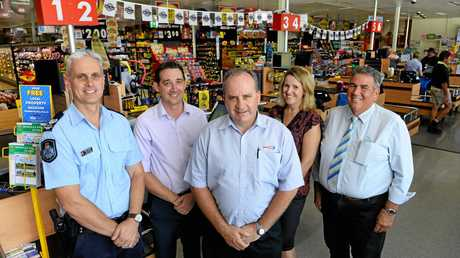 Supa IGA Lowood owner Toby Whitten (middle) will not be serving school children during school hours with the support of Lowood officer in charge, Troy Salton, Lowood State School principal Jordan Burke, Lowood State High School local school principal Anne McLauchlan, and Somerset Mayor Graeme Lehmann