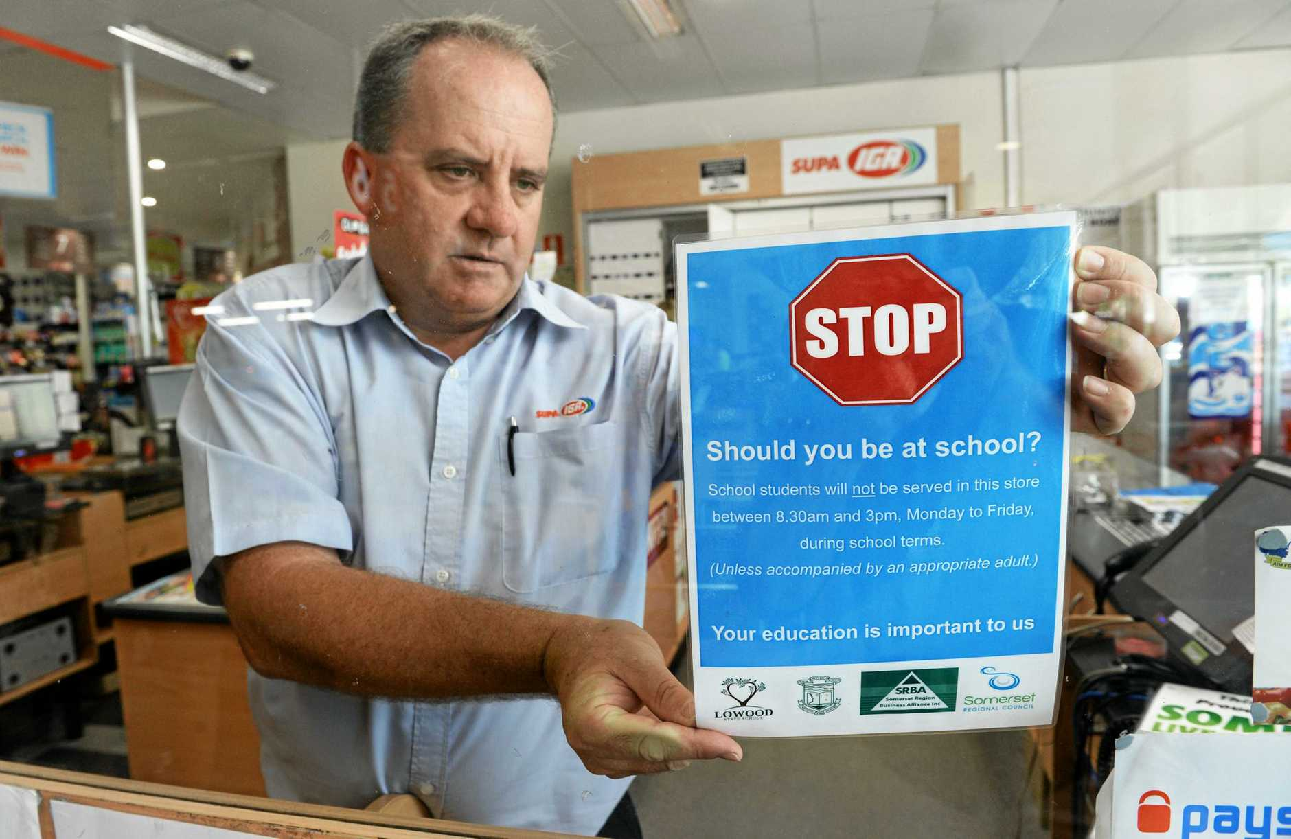 Supa IGA Lowood owner Toby Whitten will not be serving school children during school hours.