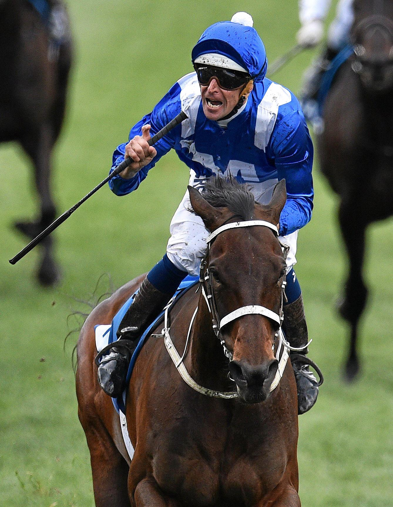Hugh Bowman rides Winx to victory in the Cox Plate in October.