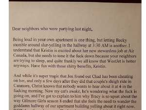 Tenant's hilarious response to noisy neighbours