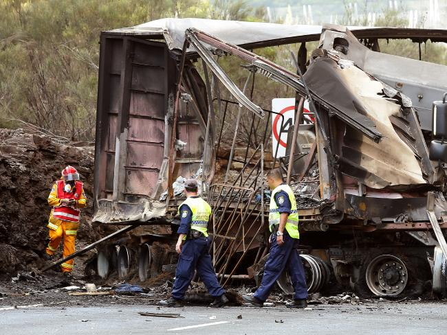 B-Double explodes into flames in highway crash | Coffs Coast