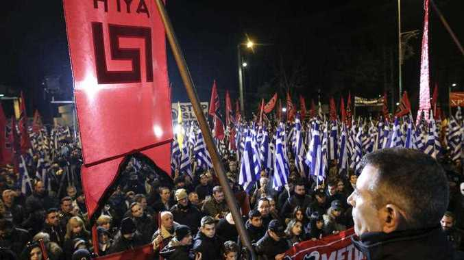 Supporters of Greece's extreme right party Golden Dawn attend a rally in Athens, on Saturday, Jan. 28, 2017