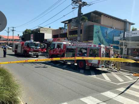 Emergency services on the scene of a fire at ABRAkebabRA in Jonson Street, Byron Bay.