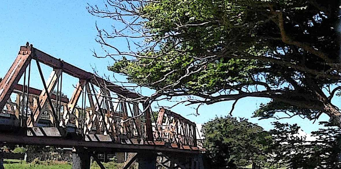 EXHIBITION: Detail of Malcolm King's Sportsmans Creek Bridge, 2016 part of The Bridges: The First Year project now showing at Yamba Museum.