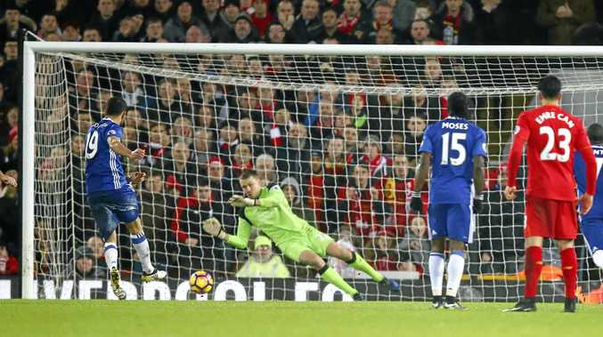 Chelsea's Diego Costa has his penalty saved by Simon Mignolet.