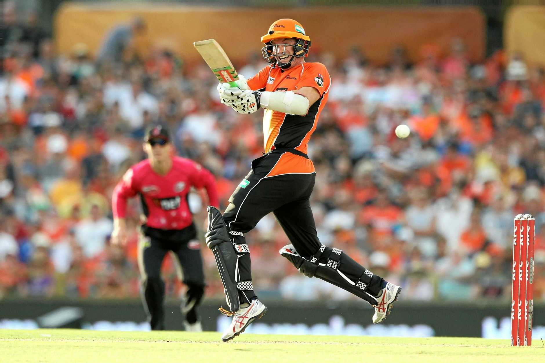 Michael Klinger hits out during the BBL final at the WACA in Perth