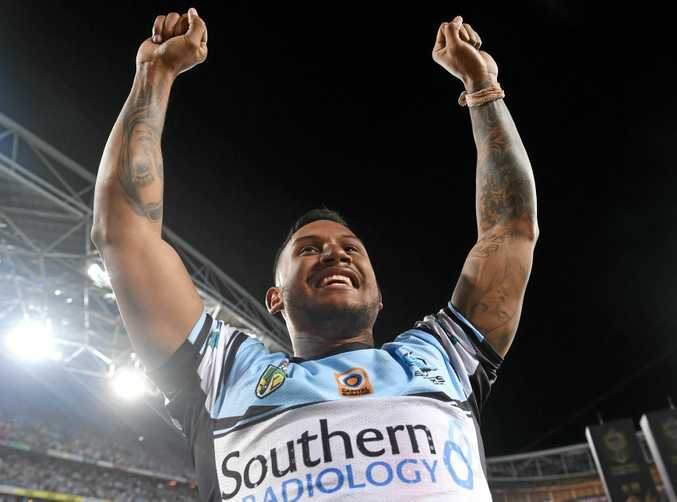 Ben Barba of the Sharks celebrates their win during the 2016 NRL grand final.