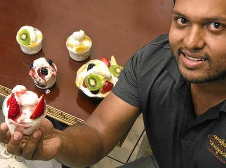 COOL CHANGE: Albab Khan from Cioccolato with their new frozen yogurt range.