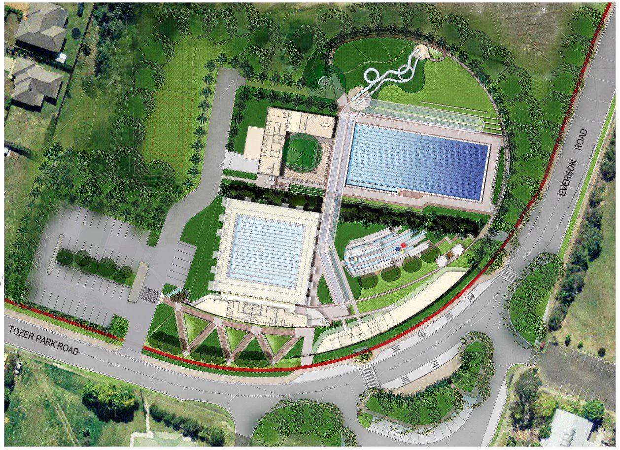 SITE PLAN: Aerial view of the Gympie Aquatic Recreation Centre as per Gympie Regional Council plans.