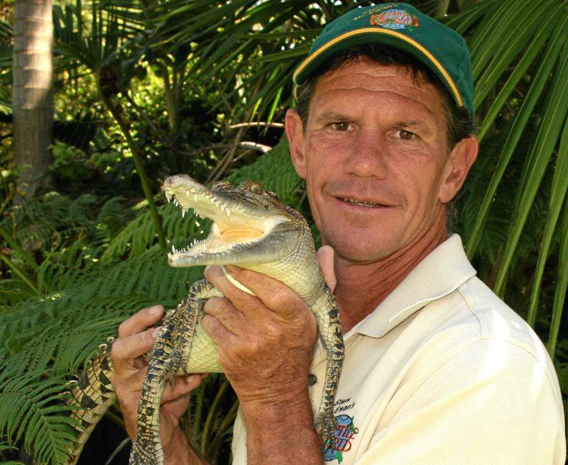 Reptile handler Steve McEwan with Snappy the crocodile.