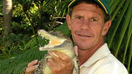 Reptile handler Steve McEwan with Snappy the crocodile.