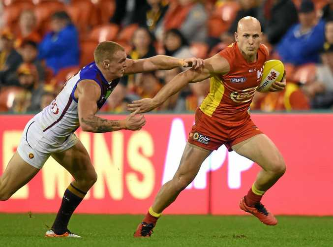 Gold Coast Suns player Gary Ablett with possession during the round 16 match last year against the Brisbane Lions at Metricon Stadium.