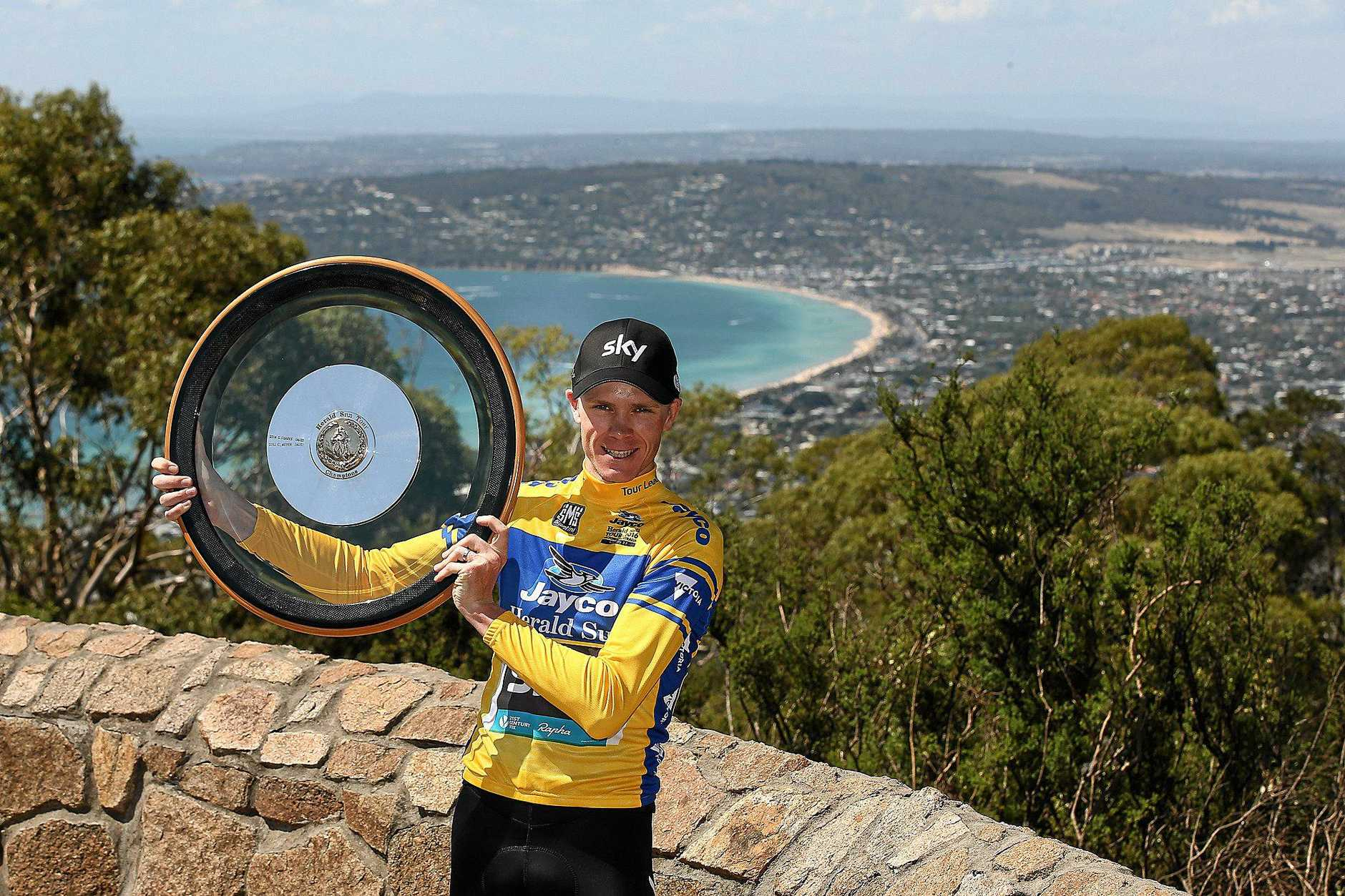 Supplied image of British cyclist Chris Froome posing for a photograph after claiming the stage victory and the Tour title during stage 4 Arthurs Seat Finale of the Jayco Herald Sun Tour in Victoria, Sunday, Feb. 7, 2016. (AAP Image/Herald Sun Tour, Con Chronis) NO ARCHIVNG, EDITORIAL USE ONLY