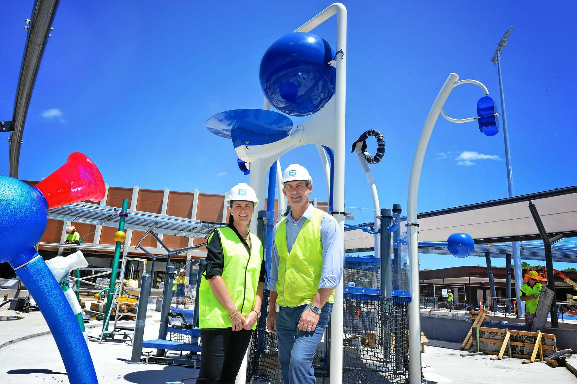 Gympie Aquatic centre under construction new  Manager Courtney Murphy and Mayor Mick Curran.