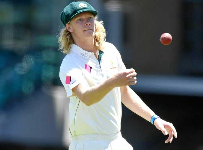 Mickey Edwards of Australia returns the ball during day five of the third Test against Pakistan at the Sydney Cricket Ground.