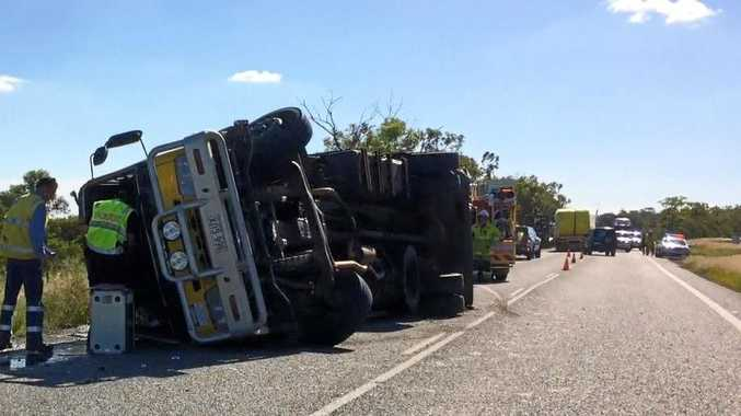 TRUCK ROLLOVER: Lanes on the Capricorn Hwy are partially closed after a truck roll over.