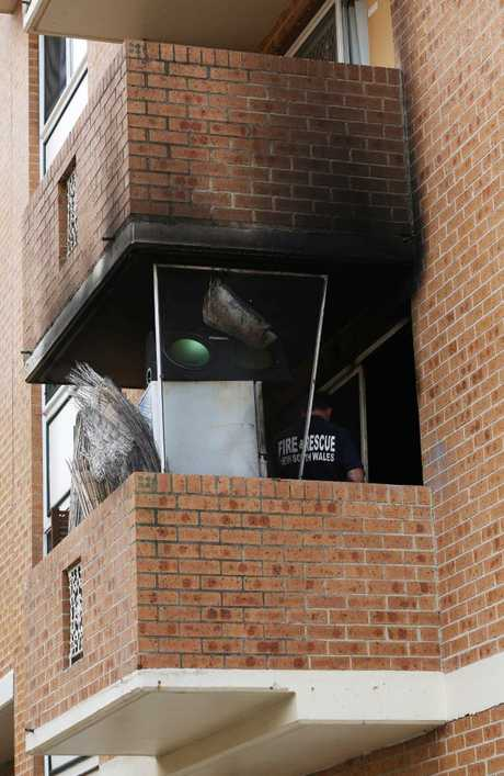 Four people were treated for smoke inhalation after the blaze broke out in the Bruce St flats in Bankstown.