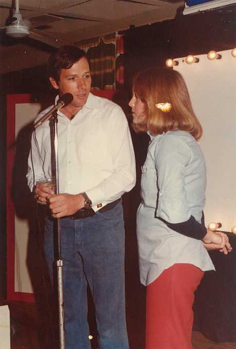 Andrew Rowan and Bronwyn Innes hosting Bootlace cinema at the Bundaberg College of Tafe in 1978. Photo: Submitted