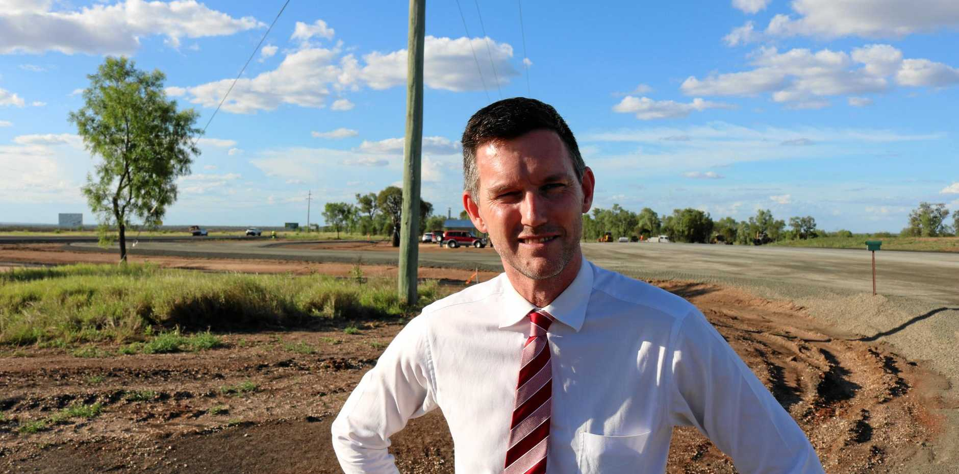 WORKING ON OUR ROADS: Minister Mark Bailey at the Gregory Hwy roadworks.
