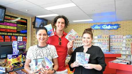 CUSTOMER SERVICE:  Karen and Hayden Ford and Kate Stallan at Targo St video store E-Time.