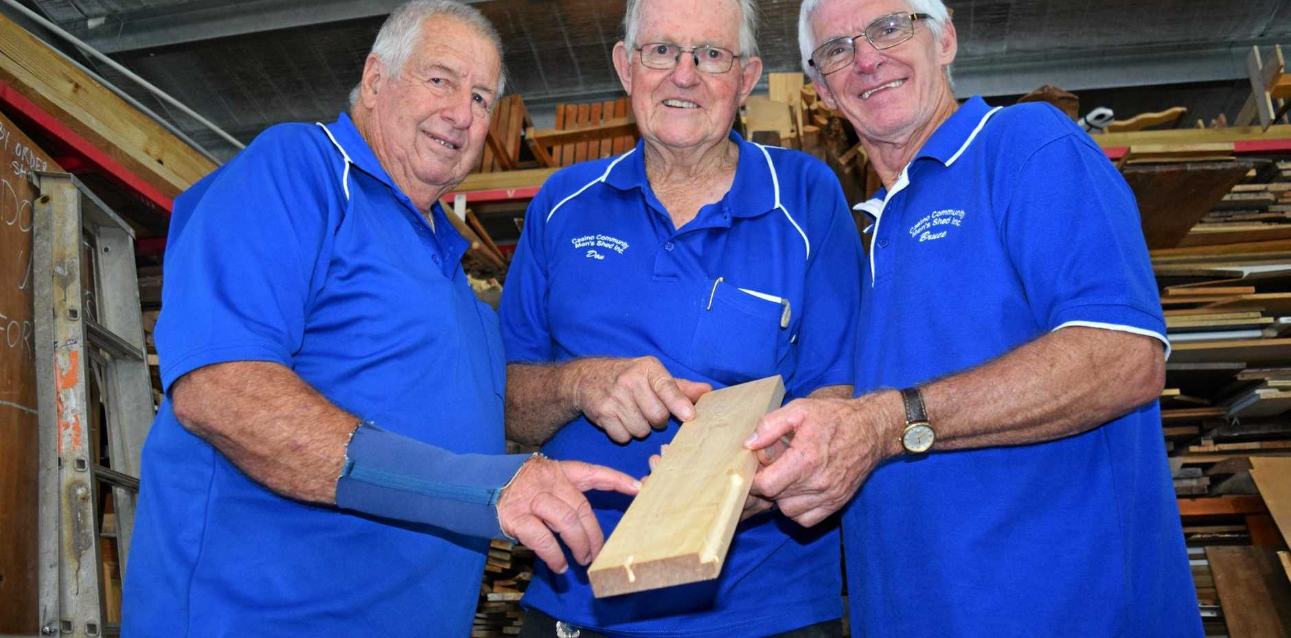 GREAT DAY: Harold Wray, 79, Don Simpkins, 79, and Bruce Rultey, 67, at the opening of the new Casino Men's Shed at the Casino Showgrounds.
