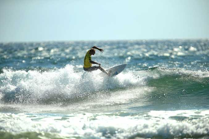Australian surfer Frazer Martin in Round one of the Tweed Coast Pro on Wednesday. Martin posted a 10.90 to finish second to fellow Australian Cody Robinson on 11.50