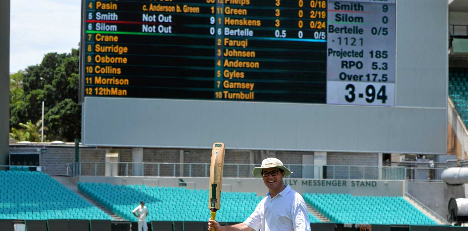 Member for Maranoa David Littleproud walks off the SCG with 50 not out on the scoreboard in a game between Federal and New South Wales Parliamentary teams.