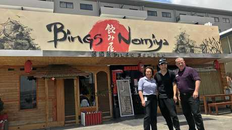 City Centre Co-Ordinator Samantha Self with Bing's Nomiya owner Bing Cheng and Cr Justin Englert.