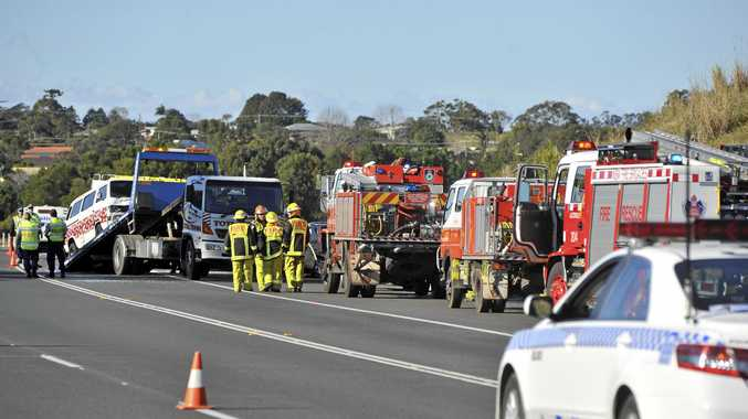Emergency services at the scene of an accident on the Bruxner Highway bypass, near Alstonville . Photo Mireille Merlet-Shaw / The Northern Star