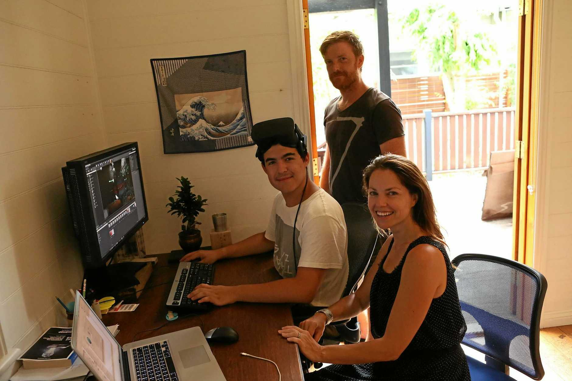 AT WORK: Lismore teen Madhi Manar with Bangalow's Will and Anouska Gammon, working on a virtual reality short film to accomany Bangalow Theatre Company's upcoming production of the Litthe Shop of Horrors.
