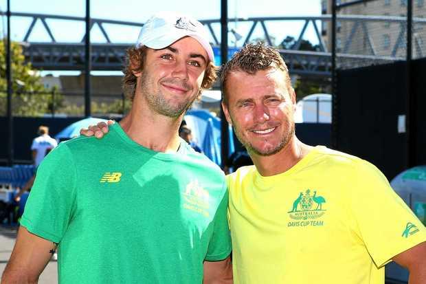 Davis Cup captain Lleyton Hewitt (right) and Jordan Thompson.