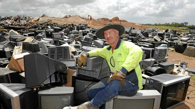 BUSY SITE: Landfill attendant Hughie Latimer at the University Drive Waste Management Facility.