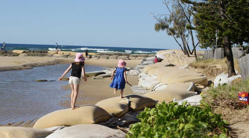 SANDBAGS: The exiting infrastructure around the Maroochy River mouth is utilised for recreation as well as for structural purposes.