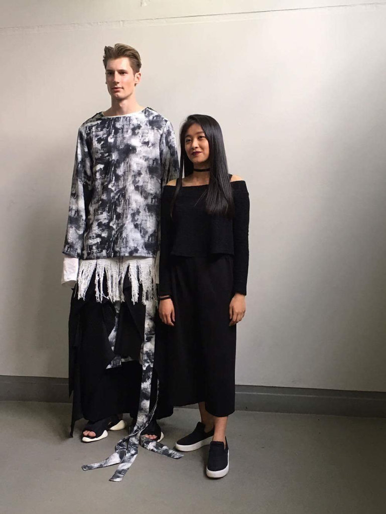 Ann Xiao with one of the models wearing her clothes, at her school's industry runway night. Photo: contributed
