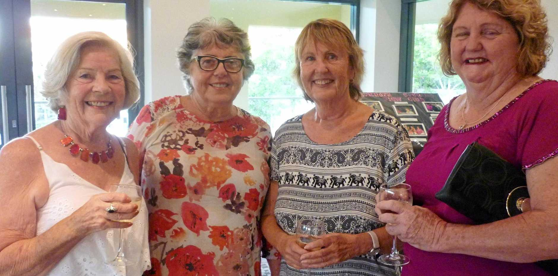 FRIENDSHIP DINNER: Caloundra Evening VIEW club members Val Lawrence, Clare Seddon, Sandra Jones and Debra Peut celebrate a new year and new friends.
