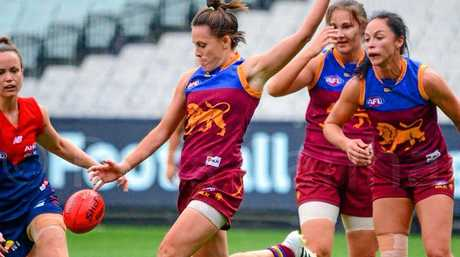 Bundaberg's Emma Zielke in action for the Brisbane Lions against Melbourne earlier this year.