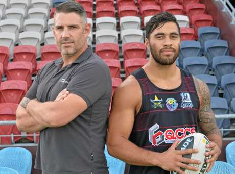 Men of League All Stars captain Joel Clinton with QCCS Mackay Cutters captain for the night Jordan Pereira.