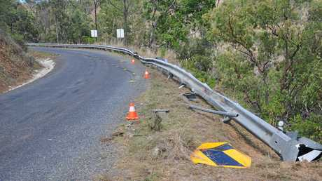 FATAL CRASH: A logging truck broke through the guard and rolled approx. 40 metres down a cliff on Gladstone Monto Road.