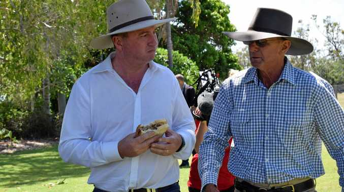 Deputy Prime Minister and Federal Agriculture Minister Barnaby Joyce talking with Stanage Bay property 'Couti Outi' owner Lawson Geddes on February 3, 2017.